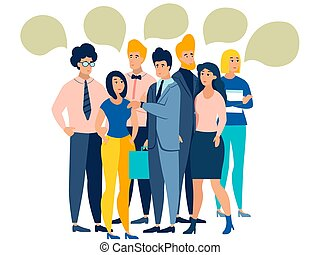 People talk. The crowd is discussing. Isolated on white background. In minimalist style. Cartoon flat Vector