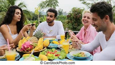 People Talking Eat Healthy Vegetarian Food, Friends Watch...