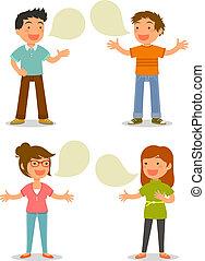 people talking - cartoon people talking happily