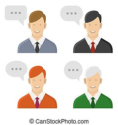 People Talking Icon Set. Man with Text Bubbles. Vector