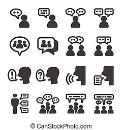 people talking icon set, vector and illustration