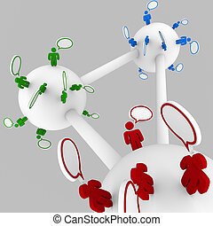 People Talking in Connected Groups