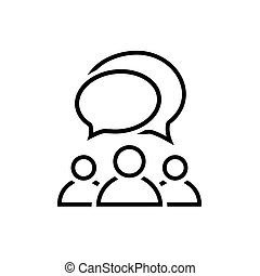 People talking line icon. Group of people symbol