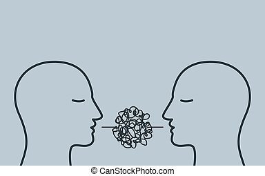 People talking nonsense speech. Poor communication, not understanding, confused speech, unclear explanations. Gossip concept. Vector illustration