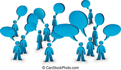 People talking symbolized with speech bubbles