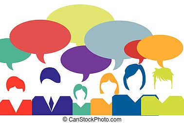 people talking symbolized with speech bubbles vector clip art rh canstockphoto com  people talking clip art free