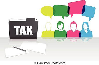 People talking with a tax folder