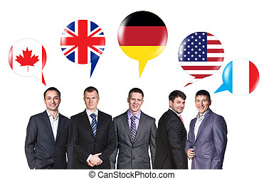 Group of business people talking with foreign speech bubbles