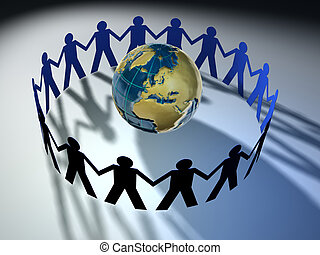 People team 4 - People symbols protecting Earth concept -...