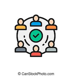 People team in project flat color line icon.