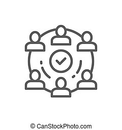 People team in project line icon.