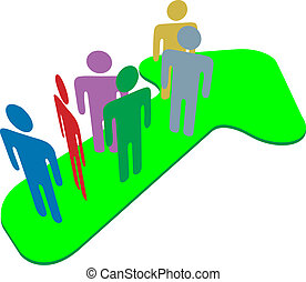 People team on symbol arrow to progress success