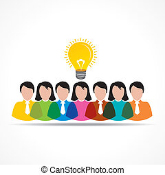 people team with idea bulb