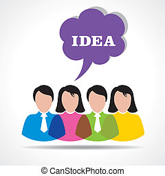 people team with idea message bubbl