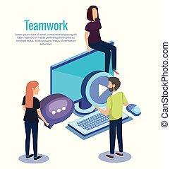 people teamwork with desktop