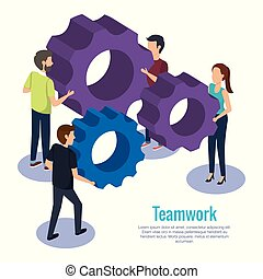 people teamwork with gears
