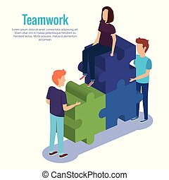 people teamwork with puzzle pieces