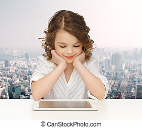 happy smiling girl with tablet pc computer - people, ...