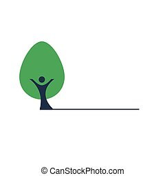 People the trunk and green tree vector icon