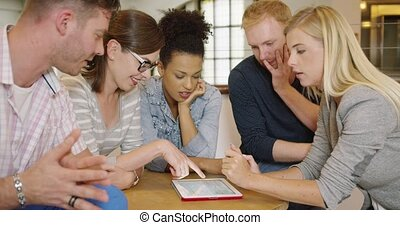 People thinking over project - Group of young people in...