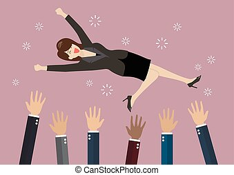 People throw a business woman in the air