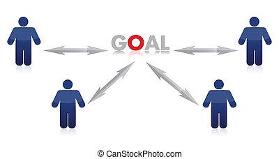 People to goal illustration design