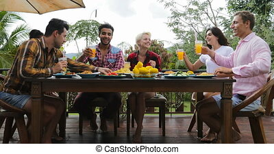 People Toasting Juice Glasses Sitting At Table On Terrace Eating Young Friends Talking Outdoors Communication