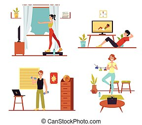 People training at home with online video tutorial - ...