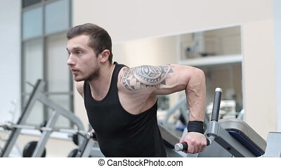 People training in fitness club, gym and sport activity. -...