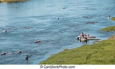 People Training On Kayak In The River, Training.