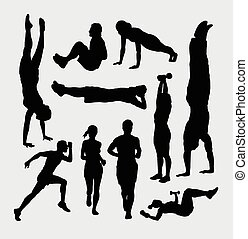 People training sport silhouettes