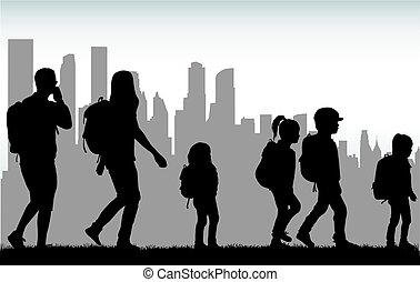 People travel on the city.