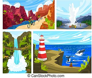 People travel outdoor, beautiful nature landscape in national park, active recreation, vector illustration