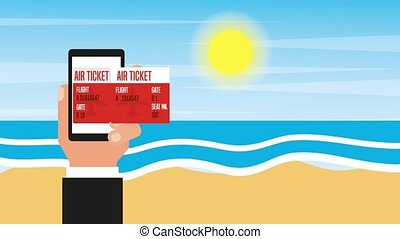 people travel time - hand with phone air ticket airplane...