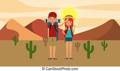 people travel time - happy tourist couple in the desert...