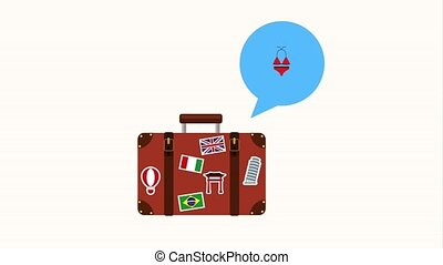 people travel time - retro suitcase with sticket travel...