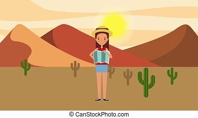 people travel time - woman holding map in landscape desert...