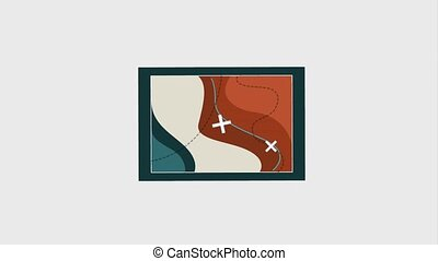 people travel vacations - gps navigation map with marks...