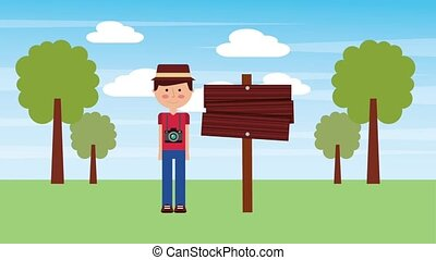 people travel vacations - tourist man cartoon in park with...