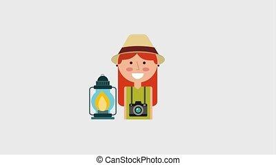 woman cartoon portrait tourist kerosene lamp backpack camera animation hd