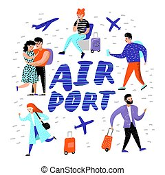 People Traveling by Plane. Cartoon Characters with Baggage in Airport. Man and Woman with Luggage. Vector illustration