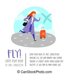 People Traveling by Plane Poster, Banner, Brochure. Cartoon Character with Baggage in Airport. Woman with Luggage. Vector illustration