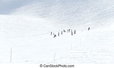People traveling in a mountains. Ski resort
