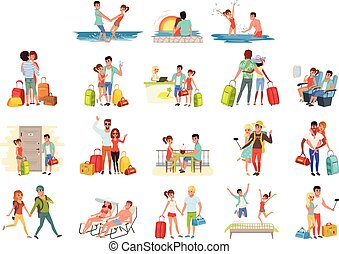 People traveling set, family couple with luggage on vacation vector Illustrations on a white background