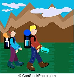 People Traveling With Backpack Hiking. Flat Style Vector Illustration