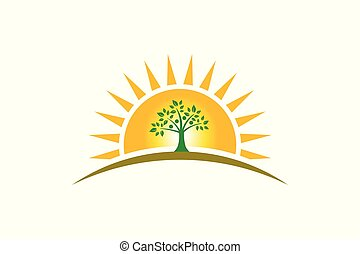 People Tree Family in sunshine logo. Family of four persons tree strong