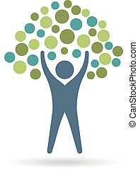 People tree icon circles. Eco life logo. Vector graphic design illustration