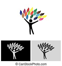 people tree logo with colorful leaves, eco concept vector....