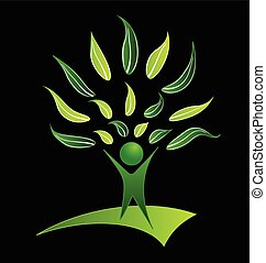 People tree with green leafs logo