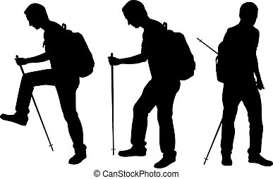 People trekking - Silhouettes of people trekking isolated on...